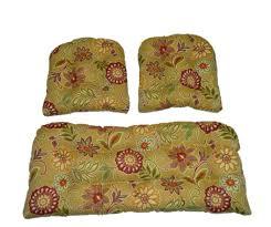 Indoor Settee Cushions by Amazon Com 3 Piece Wicker Cushion Set Tan Burgundy Olive