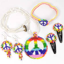 necklace making set images Handmade beaded peace sign kids necklace earrings jewelry set jpg