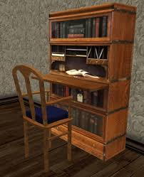 secretary desk with bookcase second life marketplace mnm low prim victorian bookcase