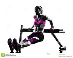woman fitness bench press push ups exercises silhouette stock