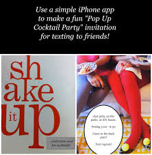 design a cocktail party invitation to text to your friends