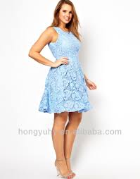 2014 high quality light blue lace sleeveless cut out back plus