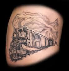 cool grey ink train tattoo design by dave barton