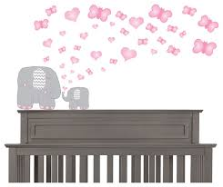 pink and grey elephant nursery wall deals contemporary