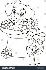 coloring page outline cartoon puppy dog stock vector 593563511