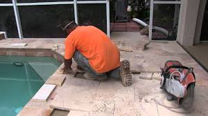 Installing Travertine Tile Travertine Pool Deck Installation Youtube