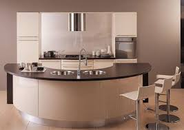 curved kitchen island with red cabinet integrated table for
