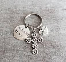 godmother keychain will you be my godmother silver keyring godmother gift