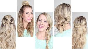 five easy 1 min hairstyles cute girls hairstyles youtube