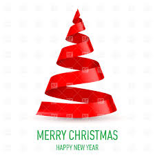 christmas tree made of red ribbon on white background vector