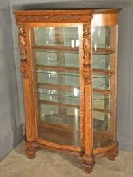 antique american victorian carved oak curved glass china hutch