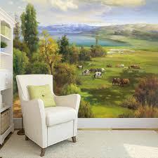 online get cheap sheep wallpaper aliexpress com alibaba group custom 3d wall murals wallpaper hand painted oil painting prairie scenery sheep horse pastoral living