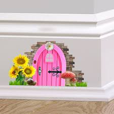 pink fairy cottage door wall decal sticker mural skirting zoom