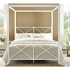 amazon com dhp rosedale metal canopy bed queen size white