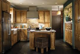 u shape rustic kitchen decoration using rustic solid wooden
