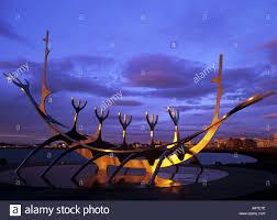 sun voyager or solfar at sunset steel viking ship sculpture stock