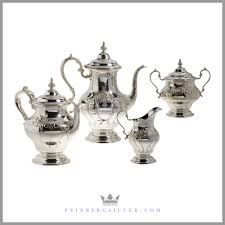 vintage tea set gorham chantilly 4pc tea set with tray sterling silver for sale
