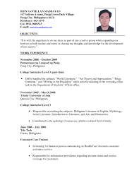 college teachers resume resume example for teachers cover letter sample