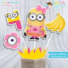 minion centerpieces minion girl centerpieces birthday party girly minion centerpiece