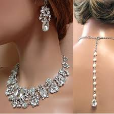 crystal wedding necklace images Wedding jewelry set bridal back drop bib necklace and earrings jpg