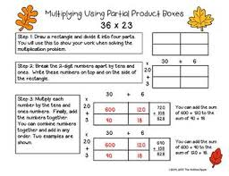 digit by 2 digit multiplication using partial products fall theme