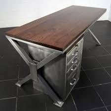 Steel Office Desks Handmade Industrial Polished Metal Walnut Office Desk Retro By