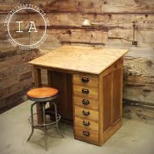 vintage wood drafting table vintage industrial 6 drawer wooden drafting table industrial artifacts