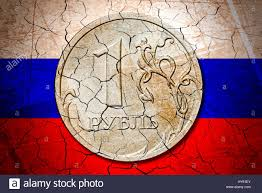 Eussian Flag One Rouble Coin Before Russian Flag With Tears Economic Results
