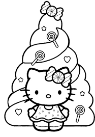 Hello Kitty Christmas And Decorated Christmas Tree Coloring Pages Hello Tree Coloring Page