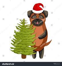 pretty pug santas hat big stock vector 721583146