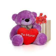 be mine teddy 4 foot big purple teddy with beautiful be mine heart pillow