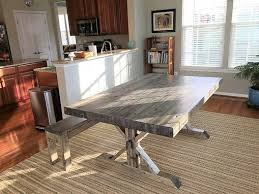 hand crafted rustic farmhouse trestle thick butcher block style