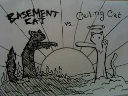 Ceiling Cat Meme - ceiling cat vs basement cat by ninjataf on deviantart