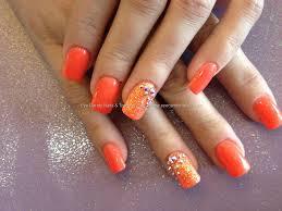 eye candy nails u0026 training acrylic nails with orange gel polish
