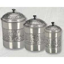 stainless steel canisters kitchen steel canister set 3pc vintage embossed silver metal food storage
