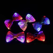 led light up toys wholesale 50pcs led light bow tie toy kids multicolor bowknot light up