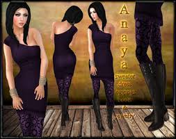 second life marketplace anaya purple rigged mesh one shoulder