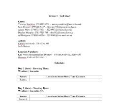 further short form pre production u2013 call sheet template al