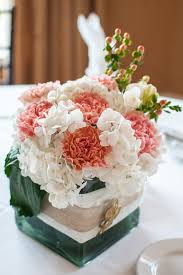 Carnation Flower Ball Centerpiece by Table Arrangement With White Hydrangea Peach Carnations And Peach