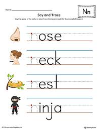 say and trace letter n beginning sound words worksheet color