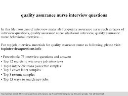 Quality Assurance Resume Sample by Quality Assurance Nurse Interview Questions