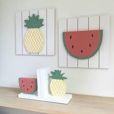 pineapple wall art kids wall art wood wall art fruit wall art