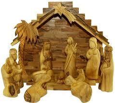amazon com olive wood nativity set modern style home u0026 kitchen
