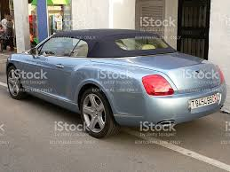 bentley blue color light blue bentley azure with black soft top stock photo 615279944