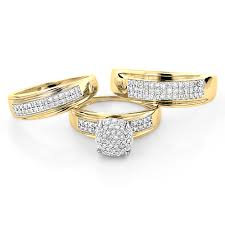 10k gold wedding ring sets 10k gold engagement trio his and hers wedding ring set 0 95ct