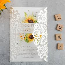 sunflower wedding invitations watercolor yellow sunflower laser cut wedding invitation