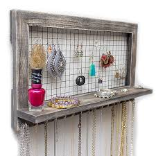 necklace storage organizer images Rustic wooden wall mount jewelry organizer for jpg