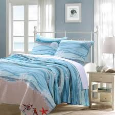 coastal beach nautical ocean blue cotton quilt set luxury linens