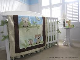 Boy Owl Crib Bedding Sets Owl Themed Crib Bedding Set Green Yellow Brown Baby Blue