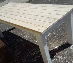 pine patio dining table two benches in white wash stain